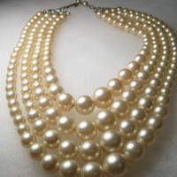 """Vintage Multi-Strand Graduated Faux Pearl Choker/Necklace, 14""""-17"""", 1940's, Four Strands"""