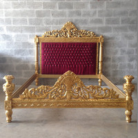 Vintage Full Bed Frame Queen Refinished Gold Leaf Gild Reupholster Red Velvet Tufted Throne Bed Frame Crystal Glass Buttons Vintage