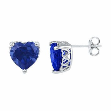 10kt White Gold Women's Lab-Created Blue Sapphire Heart Stud Earrings 7.00 Cttw - FREE Shipping (USA/CAN)