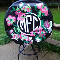 Hand painted monogrammed tire cover