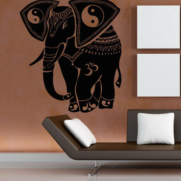 Elephant Wall Decals Ganesha Vinyl Decal Sticker Decorated Indian Elephants Sacred Animals Om Oum Home Interior Design Art Mural Decor kk806