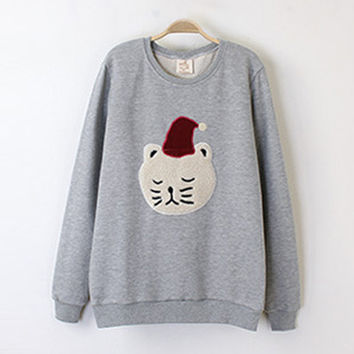 Light Gray Christmas Cat Print Sweatshirt
