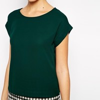 New Look Woven Cropped T-Shirt at asos.com