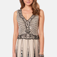 TFNC Stacy Beaded Beige Dress