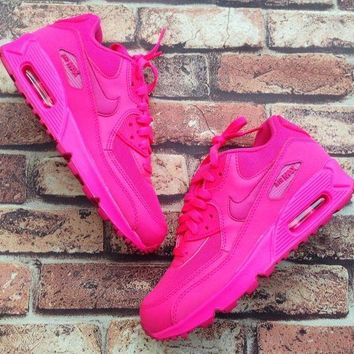 """""""Nike Air Max 90"""" Fashion Casual Women Sport Casual Solid Color Air Cushion Sneakers Running Shoes Rose Red G"""