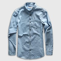 Single Breasted Long Sleeve Denim Casual Shirt