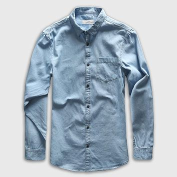Denim Shirt Men Long Sleeve Casual Shirt Jeans Male Fashion