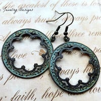 Patina Bohemian earrings,  boho jewelry, hoop earrings. Handmade jewelry, jewellery