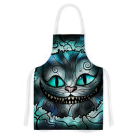 "Mandie Manzano ""Mad Chesire"" Teal Cat Artistic Apron"
