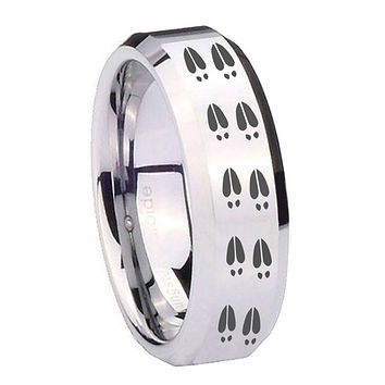 10MM Beveled Deer Tracks Mirror Beveled Edges Silver Tungsten Carbide Ring