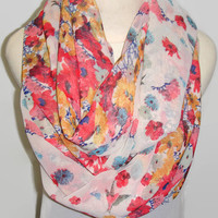 Spring / Summer scarf, infinity floral scarf, red and blue scarf, mother's day gift, teacher's gift, gift for her, buy 2 get 3
