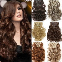 SARLA Fashion Sexy Natural Wavy Curly Synthetic 7pcs/set Hairpieces Clip In Hair Extensions Wigs(16 Colors)