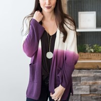 Knit Ombre Cardigan - Purple