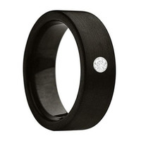 DRYAS Black Brushed Pipe Cut Tungsten Carbide Ring with Moissanite Stone 7mm