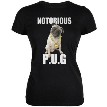 ONETOW Notorious PUG Black Juniors Soft T-Shirt