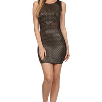 Metallic knit Sleeveless Bodycon - Dot - Dress