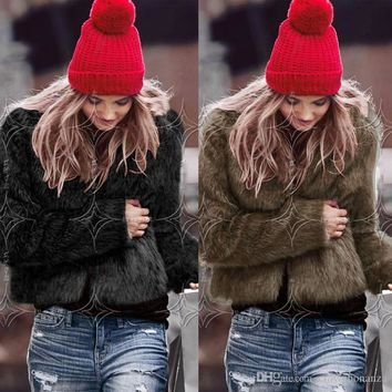 Fashion Women Rabbit Fur Outwear Jacket Long Sleeve O-Neck Short Coats Streetwear White Black Grey Brown Parka Jackets