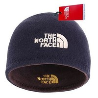The North Face Winter Thicken Polar Fleece Knit Ski Reversible Beanie Hat (Blue, One S