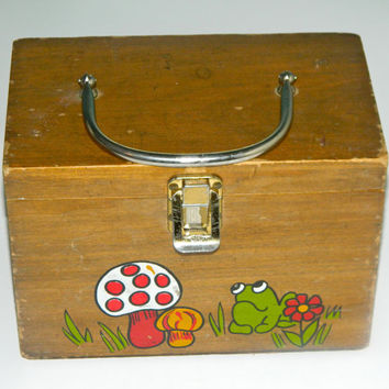 Shabby Chic Vintage Wooden Box Painted with Mushrooms and Frogs Design