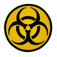 Bio Hazard Iron On Patch Yellow & Black Applique