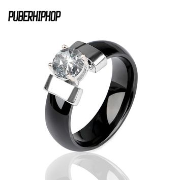 2018 New Ceramic Wedding Ring 6MM Width Black White Bling Cubic Zircon Delicate Cabochon Smooth Engagement Rings For Women