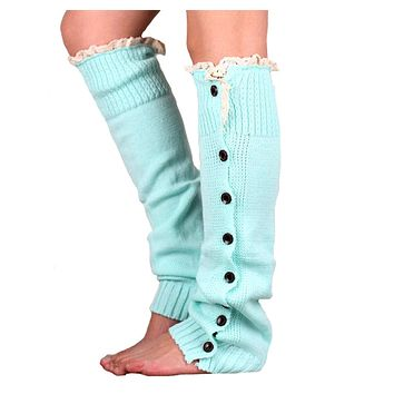 Article straight leg warmers buckle lace knitting leg warmers set of legs