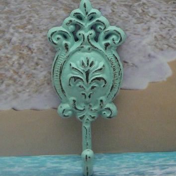 Ornate Floral Cast Iron Beach Light Blue Wall Oval Hook Cottage Shabby Chic Nautical Leash Jewelry Coat Hat Keys Bathroom Key Towel Hook