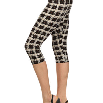 Always Elegant Checkered High Waist Capri leggings