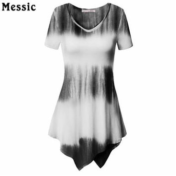 Tops and Tees T-Shirt Summer T-Shirt Irregular Women Short Sleeve Top Brand Tie Dye Printed Knit Fashion Long Tunic  Women Casual Striped Top Tees AT_60_4 AT_60_4
