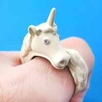 Large Detailed Unicorn Animal Wrap Around Ring in White - Size 5 to 8