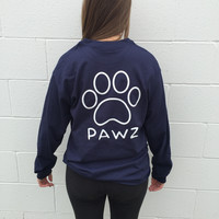 Long Sleeve Navy Classic White Print