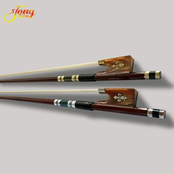 Exquisite Violin Bow 4/4 Brazil Wood Ebony Frog Colored Shell Horn Carved Flower Gold Braided Violino Bow White Horse Hair