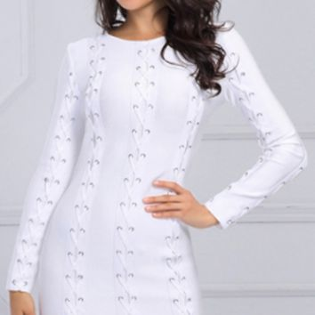 Save The Date White Long Sleeve Crew Neck Grommet Lace Up Bandage Bodycon Mini Dress