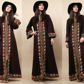 70s Vtg Eccentric WOOL Kimono EMBROiDERED Maxi Dress - Duster Coat / FLOOR LENGTH Floral Metal Zip Front HiPPIE Boho /Mint! INCREDiBLE!