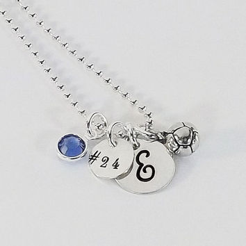 Hand Stamped Personalized Soccer Initial Necklace Soccer Jersey Number with Soccer Ball Charm and Swarovski Crystal Birthstone