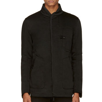 Helmut Lang Black Twill Coated And Layered Blazer