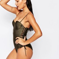 River Island | River Island Lace Up Side Swimsuit at ASOS