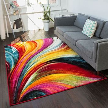 Well Woven Bright Waves Multicolor Area Rug - 5'3 x 7'3 | Overstock.com Shopping - The Best Deals on 5x8 - 6x9 Rugs
