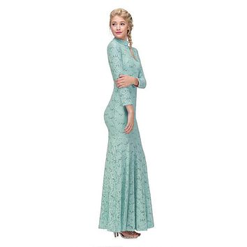 Long Sleeve Lace Full Length Dress Mint Mock 2 Piece High Neck