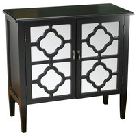 Sayre 2-Door Mirrored Cabinet, Black, Cabinets & Hutches