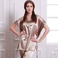 NEW women Imitated silk home clothes, Pajamas 2 piece Set Women sleepwear pyjamas women Nightgown pajama satin