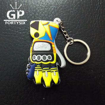GPFORTYSIX PVC Rubber Motorcycle 3D gloves keychain for Lorenso 99 rockstar Valentino Rossi 46 the doctor moto fans gift
