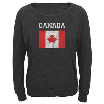 ESBGQ9 World Cup Distressed Flag Canada Juniors Long Sleeve Slouch Top