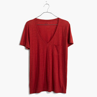 SLUB V-NECK POCKET TEE