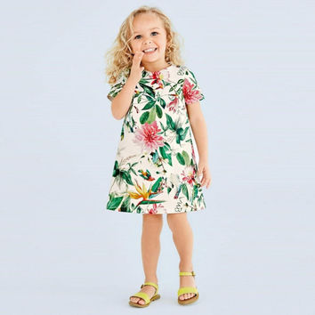 Toddler Girls Baby Dress Princess Flower Short Sleeve Party Summer Style Dresses 0-5T