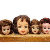 Vintage Doll Heads, Distressed Toy Creepy Doll Parts Instant Collection, Unusual Curiosity Decor, Mixed Media Assemblage Altered Art Supply