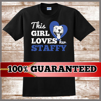 Staffy Lover T Shirt.  What a great staffy gift idea suitable for all great Staffordshire Staffy fans!  Buy with confidence today.