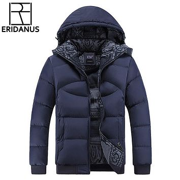 Men Hooded Winter Coats Male Hooded Jackets Teenager Slim Fit Windbreaker Parka Cotton-Padded