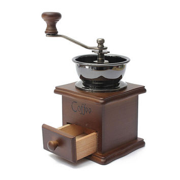 1PCS Retro design Mini Manual Coffee Mill Wood Stand Bowl Antique Hand Coffee Bean Grind