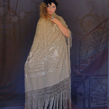 Pure heaven silk embroidered piano shawl / huge square with very long fringing / hand stitched boho bridal manton